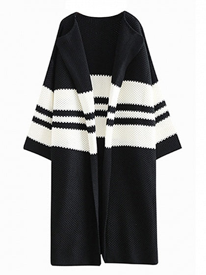 Black Stripe Open Front Longline Cardigan