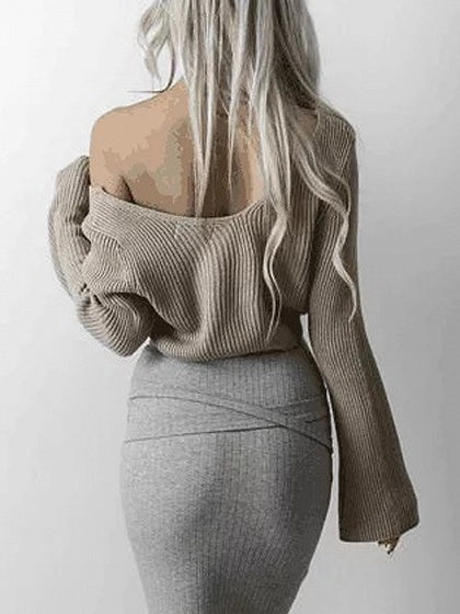 Khaki V-neck Long Sleeve Knit Sweater