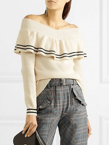 Beige Stripe V-neck Ruffle Trim Long Sleeve Knit Sweater