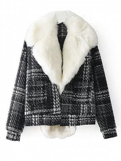 Black Plaid Lapel Faux Fur Trim Padded Jacket
