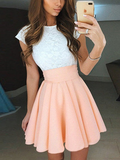 Light Orange Contrast Lace Panel Skater Mini Dress
