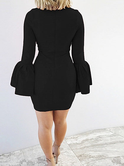 Black Flare Sleeve Bodycon Mini Dress