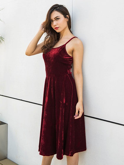 Velvet Spaghetti Strap Dress