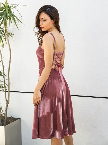 Pink Velvet Spaghetti Strap Lace Up Back Dress