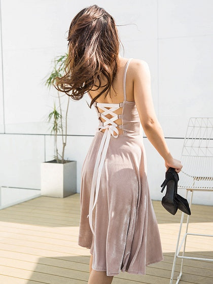 Khaki Velvet Spaghetti Strap Lace Up Back Dress