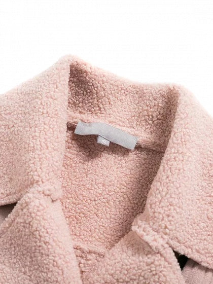Pink Lapel Faux Shearling Lining Coat