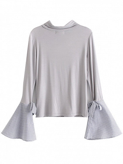 Gray Stripe Cowl Neck Tie Cuff Panel Flare Sleeve T-shirt