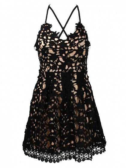 Black Cross Strap Open Back Lace Mini Dress