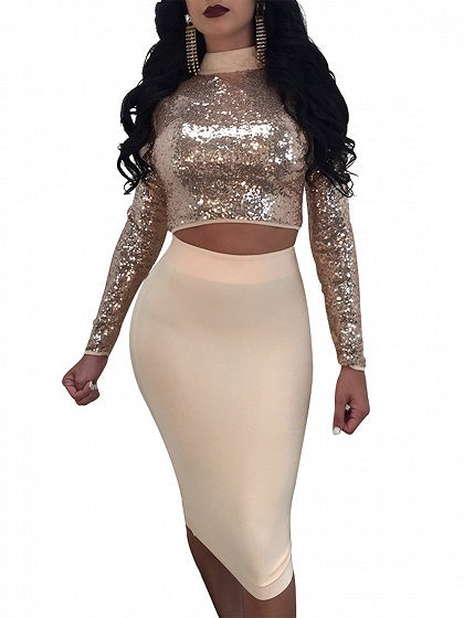 Gold Lace Up Sequin Detail Crop Top And Bodycon Skirt