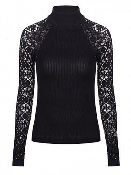 Black High Neck Cut Out Back Lace Panel Knit Sweater