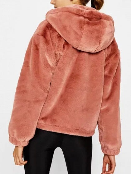 Pink Zip Front Long Sleeve Faux Fur Hooded Coat