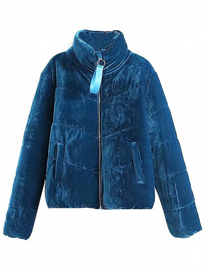 Blue Velvet Long Sleeve Padded Coat