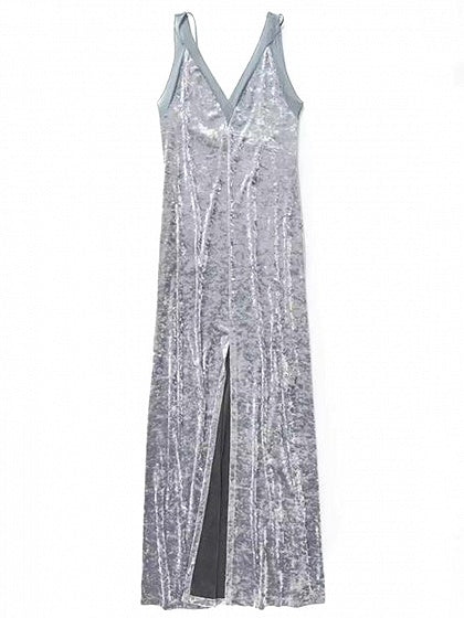 Gray Velvet V-neck Thigh Split Front Open Back Dress