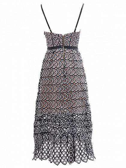 Black Spaghetti Strap Lace Midi Dress