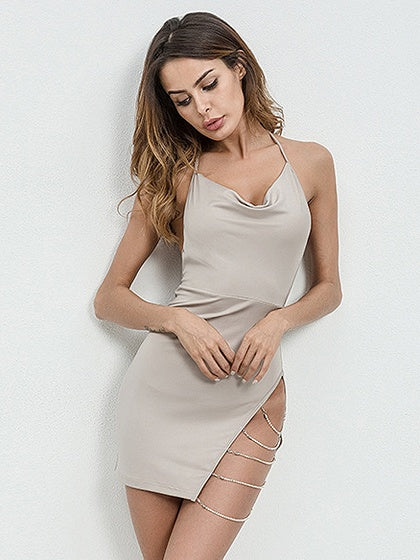 Beige Halter Chain Detail Open Back Mini Dress