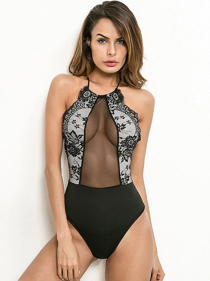 Black Sheer Mesh Panel Open Back Bodysuit