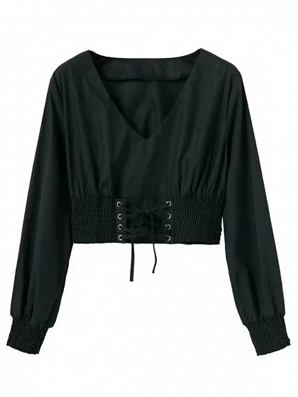 Black V-neck Lace Up Front Long Sleeve Cropped Blouse