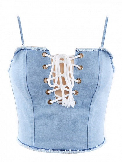 Blue Spaghetti Strap Lace Up Front Denim Crop Tank Top