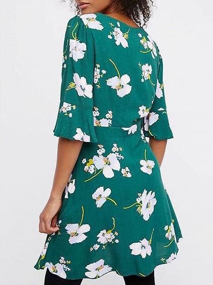 Green Plunge Floral Print Bow Tie Front Mini Dress