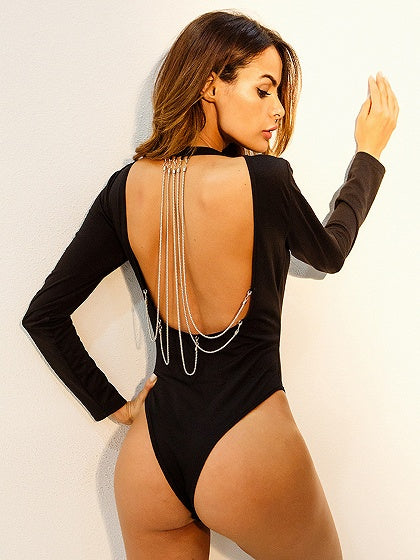 Black Chain Detail Open Back Long Sleeve Bodysuit
