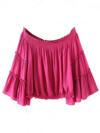 Hot Pink Off Shoulder Flared Sleeve Blouse