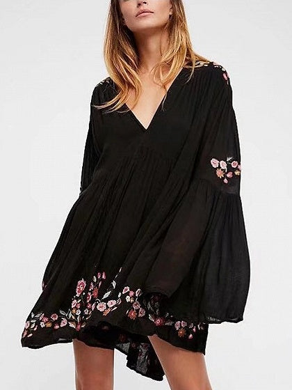 Black V-neck Embroidery Floral Flared Sleeve Mini Dress