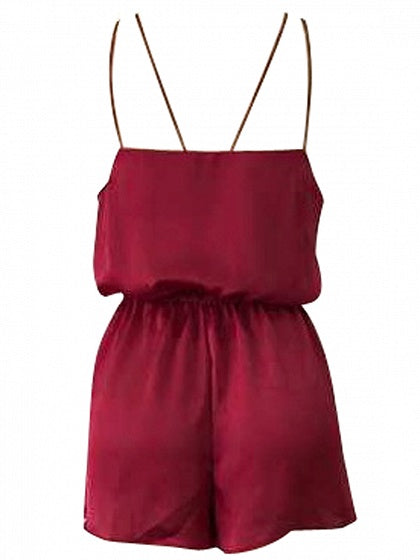 Burgundy V-neck Strap Cross Romper Playsuit