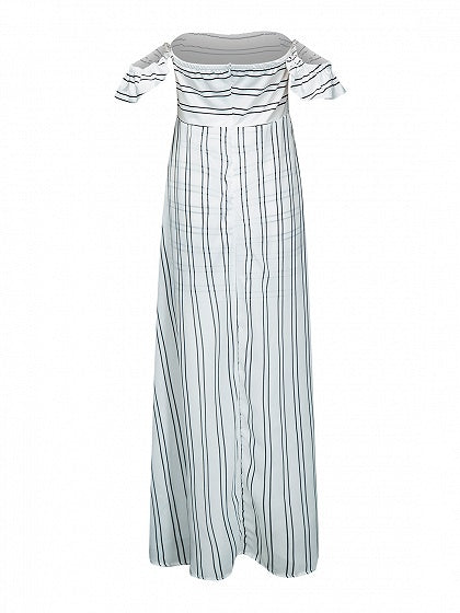 Monochrome Stripe Off Shoulder Maxi Dress