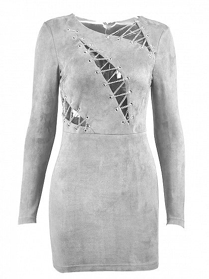 Light Gray Faux Suede Chain Lace Up Front Long Sleeve Mini Dress