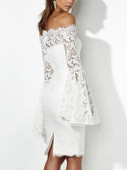 93747aef131d White Off Shoulder Flare Sleeve Lace Bodycon Dress – MYNYstyle