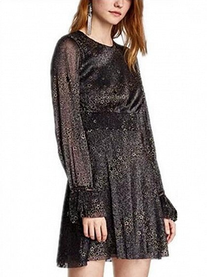 Black Star Pattern Long Sleeve Mini Dress
