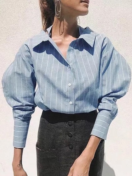 Blue Stripe Ring Belt Detail Dipped Hem Long Sleeve Shirt