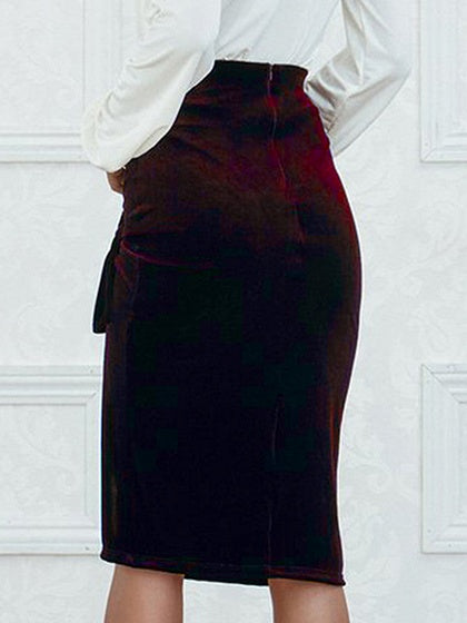 Burgundy Velvet High Waist Knot Detail Skirt
