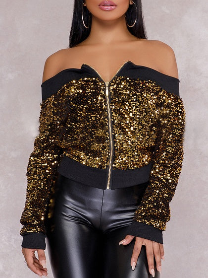 Gold Off Shoulder Sequin Detail Long Sleeve Bomber Jacket