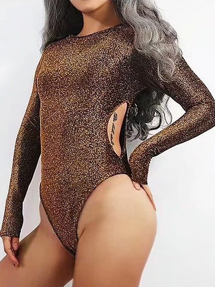 Gold Metallic Yarn Cut Out Detail Long Sleeve Bodysuit