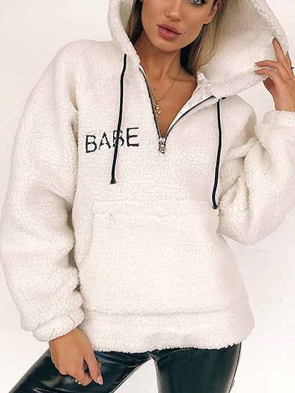 White Drawstring Pouch Pocket Long Sleeve Faux Shearling Hoodie