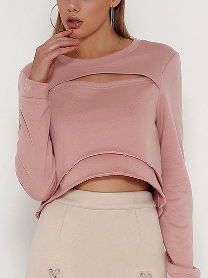 Pink Cut Out Detail Long Sleeve Sweatshirt