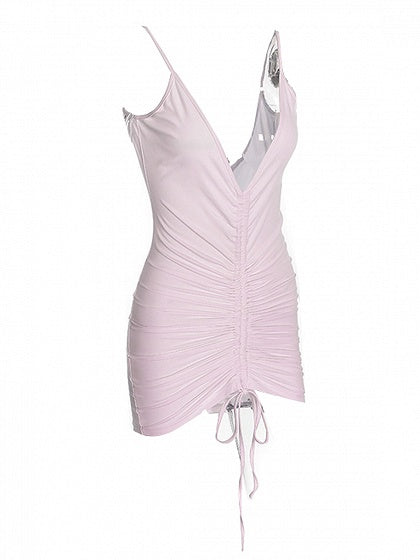 Pink Spaghetti Strap Plunge Ruched Front Bodycon Mini Dress