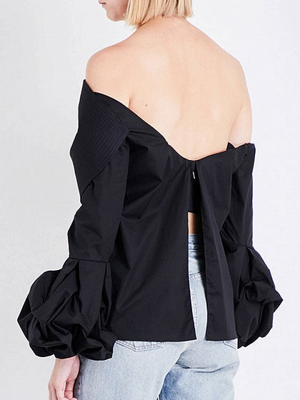 Black Off Shoulder Bow Front Ruched Puff Sleeve Blouse