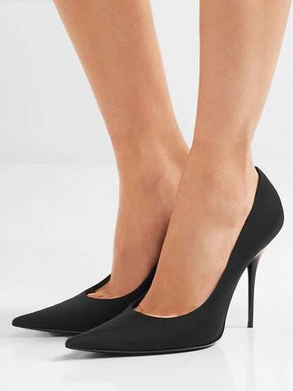 Black Satin Look Pointed High Heeled Pumps