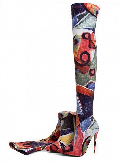 Polychrome Stretch Over The Knee Heeled Boots