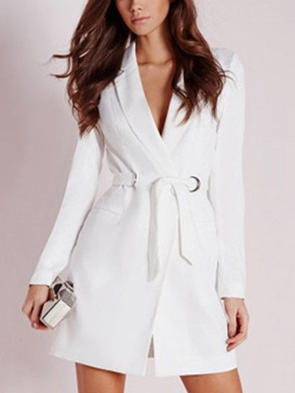 White Lapel V-neck Tie Waist Long Sleeve Blazer Mini Dress