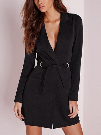 Black Lapel V-neck Tie Waist Long Sleeve Blazer Mini Dress 4e5e7ea6c