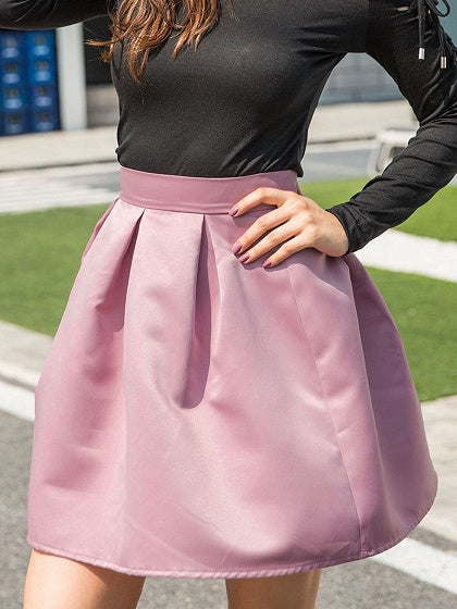 Pink Satin Look High Waist Mini Skirt