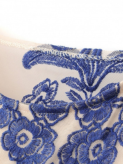 Blue Embroidery Detail Flare Sleeve Sheer Mesh Mini Dress