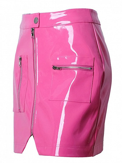 Pink High Waist Zip Front Leather Look Pencil Mini Skirt