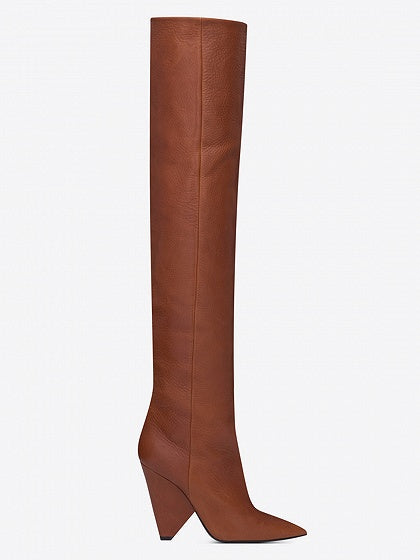 Brown Leather Pointed Heeled Over the Knee Boots