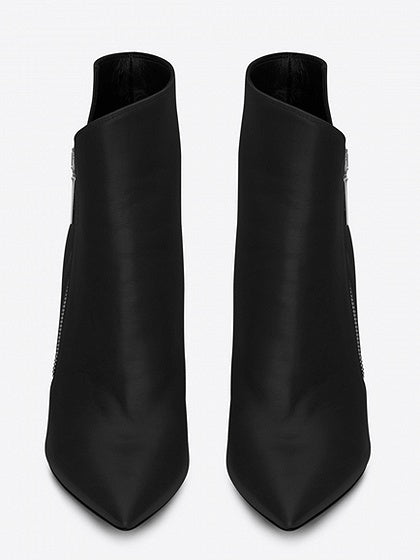 Black Leather Pointed Heeled Boots