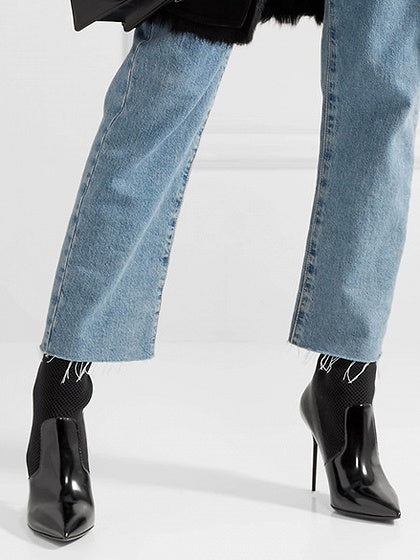 Black Leather Pointed Heeled Sock Boots