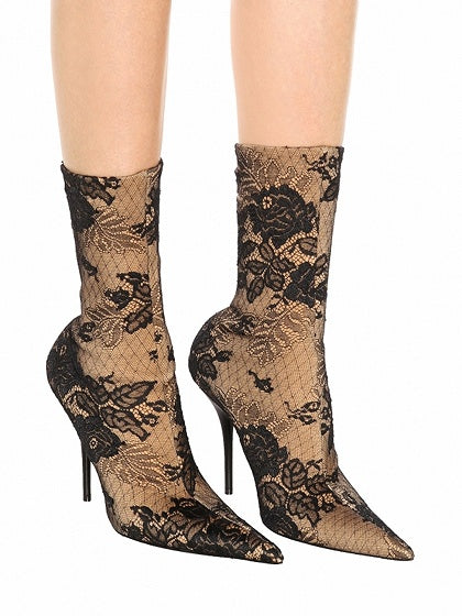 Polychrome Stretch Lace Print Detail Pointed Heeled Boots